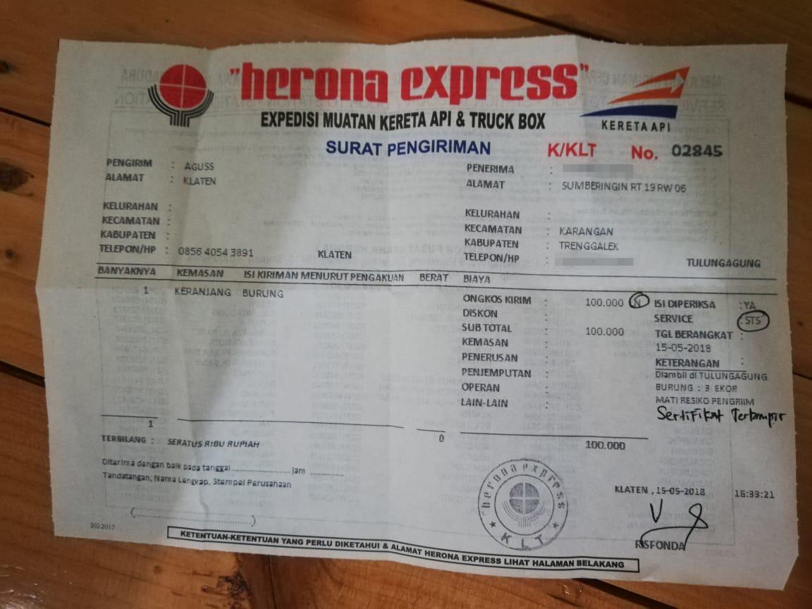 resi pengiriman herona