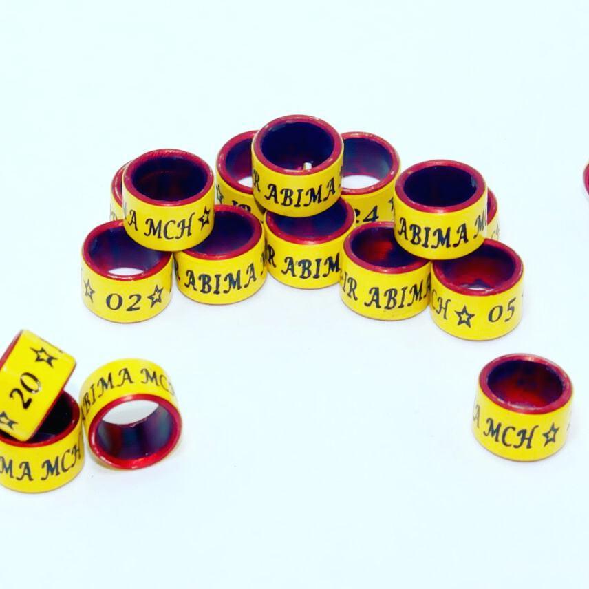 Model Powder Coating, warna luar kuning, warna dalam merah, tulisan satu baris + logo.